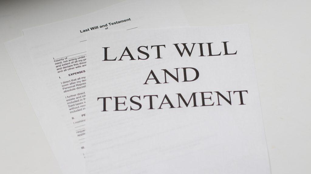 Une feuille de testament